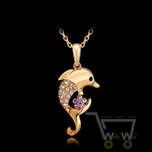18 Kg Real Gold Plated Dolphins With Cute Flower - WikiWii