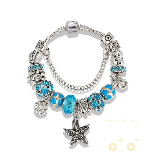 Antique Silver Starfish /Turtle Charms Bracelet - WikiWii