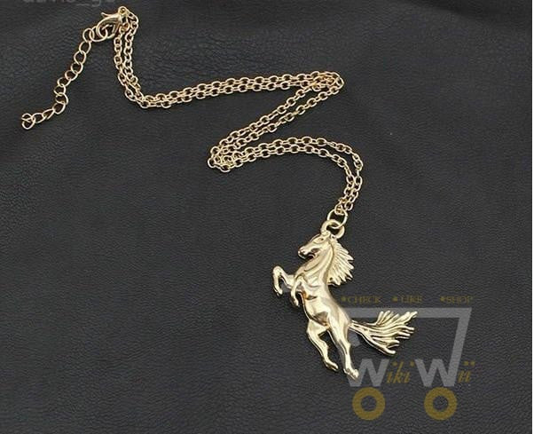 18K Gold Plated Horse Necklace - WikiWii