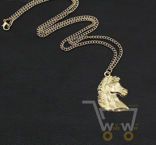 18K Gold Plated Horse Head Necklace - WikiWii