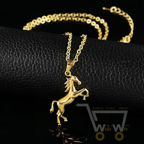 18k gold plated horse pendant necklace - WikiWii