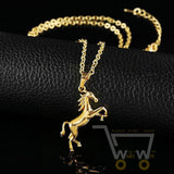 18k gold plated horse pendant necklace
