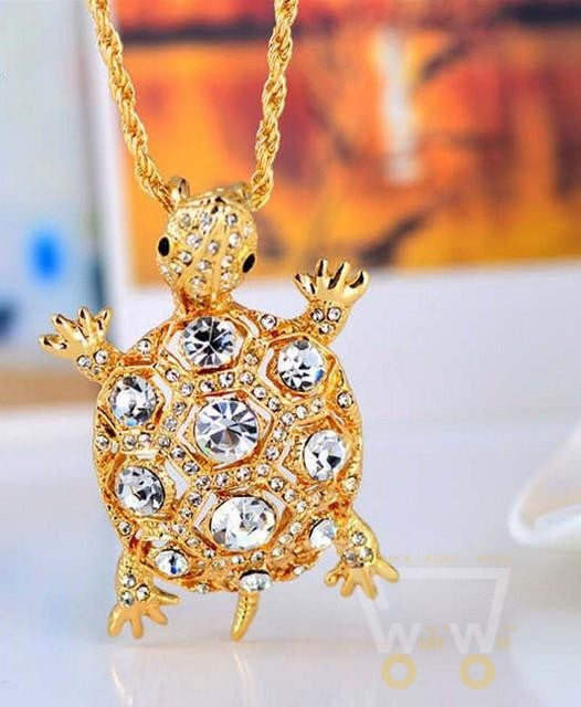18K Gold Plated Rhinestones Filled Turtle Pendant Necklace - WikiWii