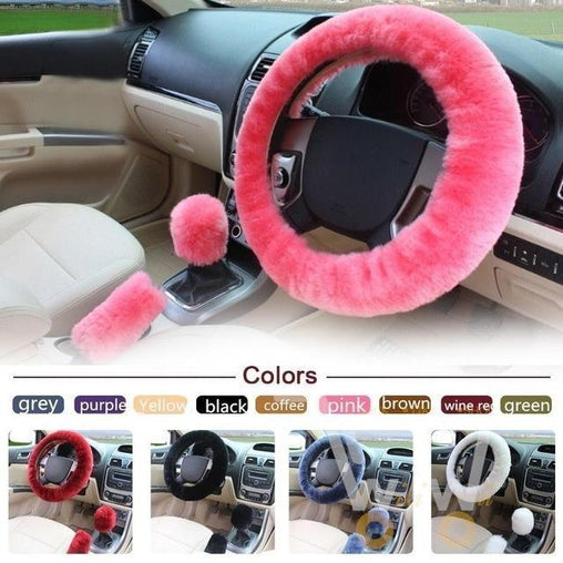 3pcs/1set Fur Steering-Wheel Cover - WikiWii