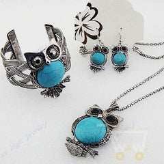 Antique Silver Plated Turquoise Rhinestones Owl Necklace & Earrings & Bracelet - WikiWii