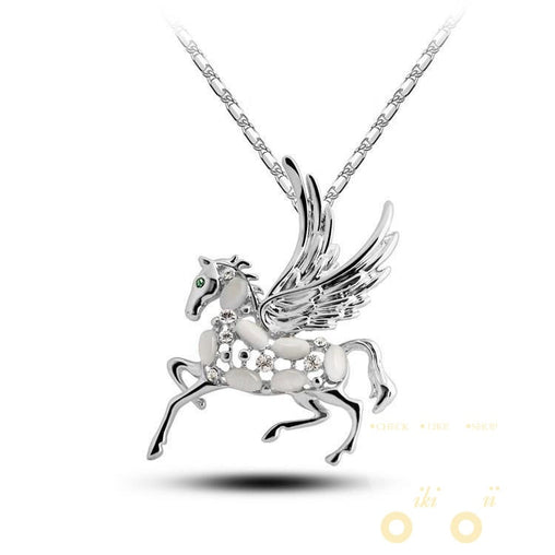 18K Gold Plated Rhinestone Crystal  Horse Opal Necklaces - WikiWii