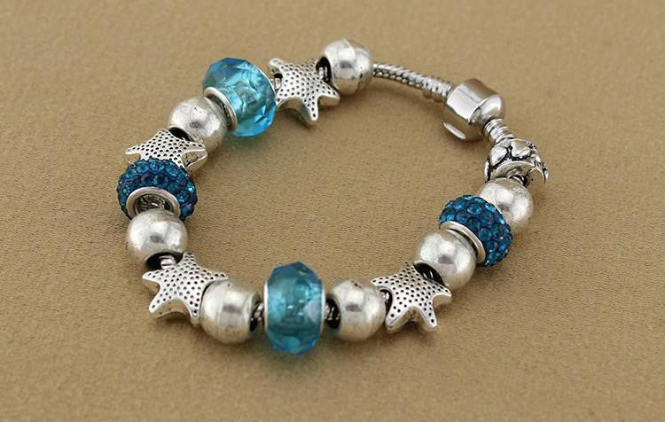 925 Sterling Silver Jewelry Blue Glass Bracelets - WikiWii
