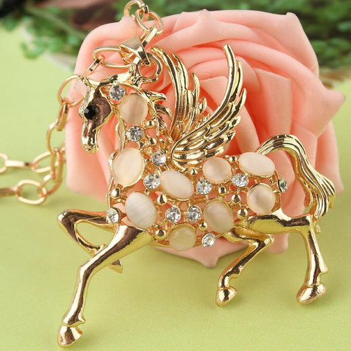 18k Gold Plated Austrian Crystal Horse Pendant Necklace - WikiWii