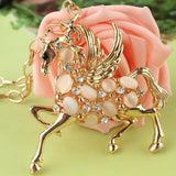 18k Gold Plated Austrian Crystal Horse Pendant Necklace