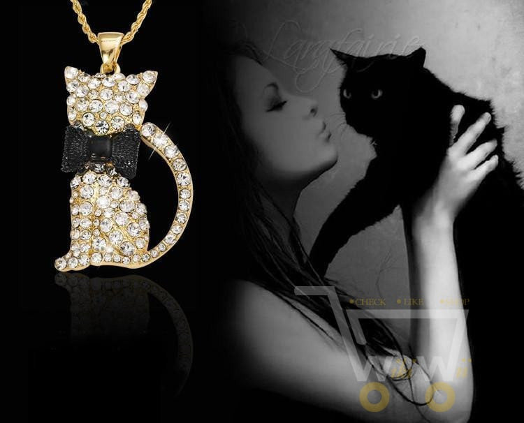 18K Gold Long Cristal Cat Necklace - WikiWii