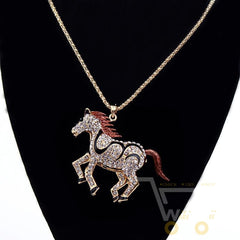 18K Gold Plated Necklace Horse - WikiWii