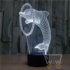 Acrylic Dolphin Colorful LED Night Light - WikiWii