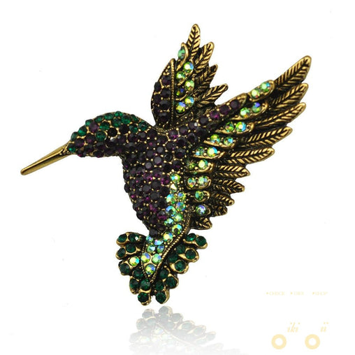 Antique Gold Hummingbird Brooch - WikiWii