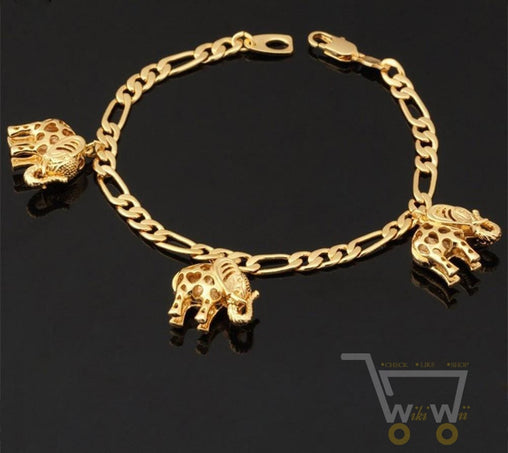 18K Gold Plated Link Chain Lovely Elephant Bracelet - WikiWii