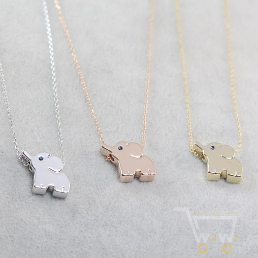 18k Gold Elephant Necklace Silver / Rose Gold - WikiWii