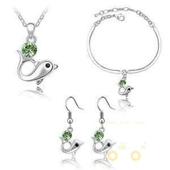 18 kg white Gold crystal Jewelry Set Dolphin necklace, earrings & Bracelet - WikiWii