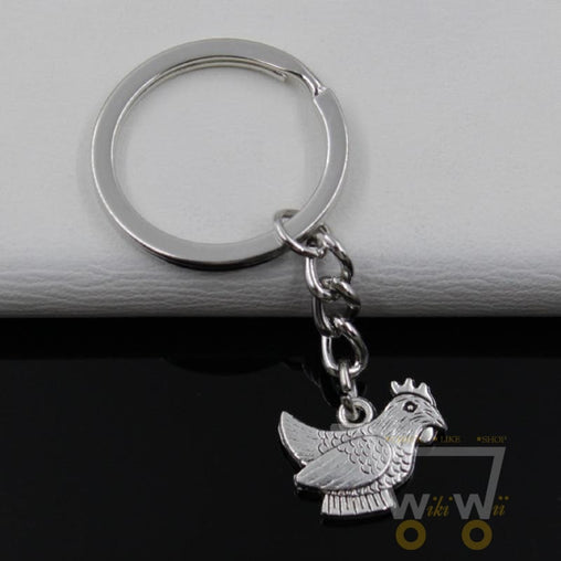 Antique Silver Plated Key Chain Chicken - WikiWii