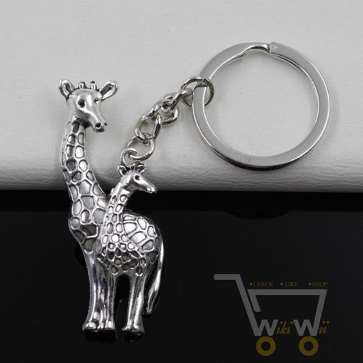 Antique Silver Plated Giraffe Keychain - WikiWii
