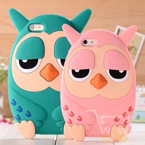 3D owl phone case for iphone 4 / 4s/  5 / 5s 6 / 6 plus Cartoon silicone mobile phone case - WikiWii