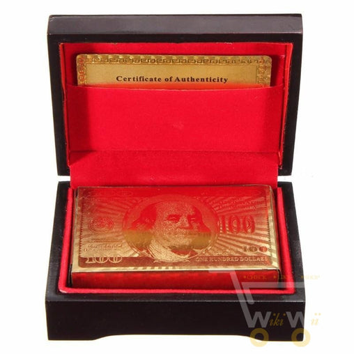 24K Gold Plated Playing Card With Wooden Box - WikiWii