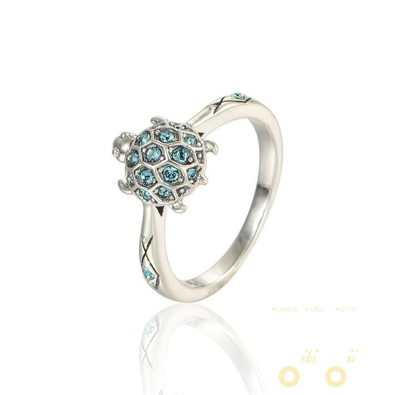 925 Silver Blue Stone Turtle Ring - WikiWii