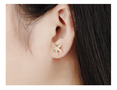 18K Gold/Platinum Plated Starfish Earrings - WikiWii