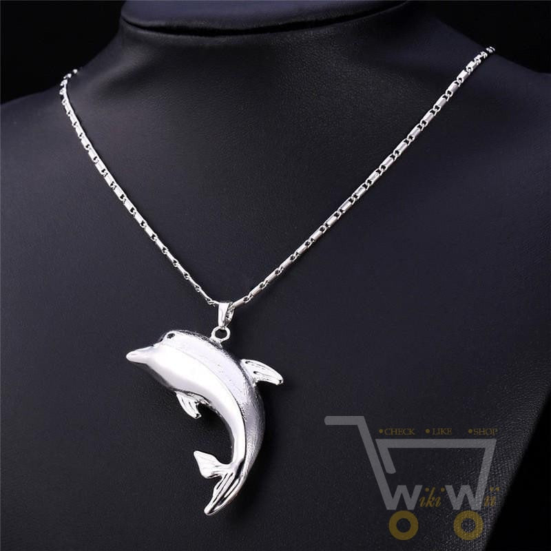 pendant big of silver necklace necklaces beautiful in jewelry dolphin pendants chain animal cute item rhinestone color full fashion accessories crystal from for new women