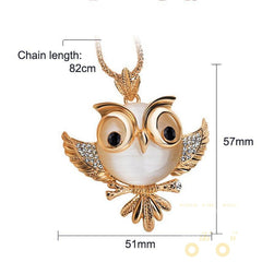 18k Gold plated New Trendy Owl Long Necklace - WikiWii