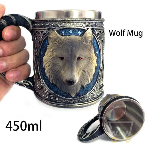 3D Stainless Steel Wolf Mug - WikiWii