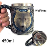 3D Stainless Steel Wolf Mug