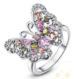 18K White Gold Plated Butterfly Ring