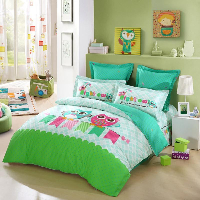 Delicieux ... 100% Cotton Cartoon Cute Owl Bedding Set 4pcs Bedclothes Bed Sheet Twin  / Queen ...