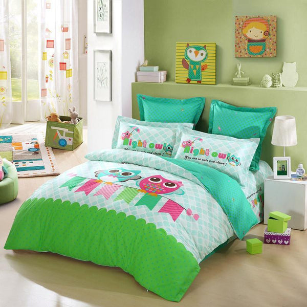 ... 100% Cotton Cartoon Cute Owl Bedding Set 4pcs Bedclothes Bed Sheet Twin  / Queen ...