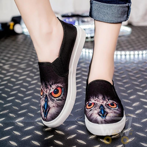 3D Owl printing shoes Casual Flat shoes 2 color Black / White - WikiWii