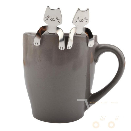 2Pcs Stainless Steel Mini Cat Coffee & Tea Spoon - WikiWii