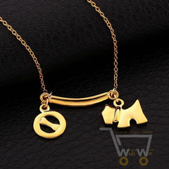 18 kg gold plated dog with bone pendants necklaces - WikiWii