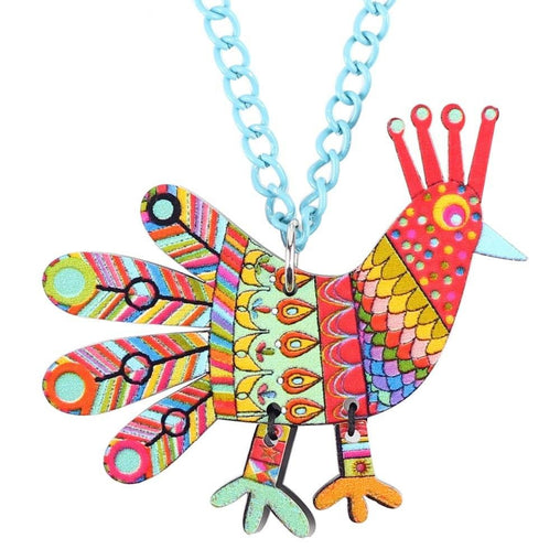 Acrylic Pattern Chicken Necklace - WikiWii