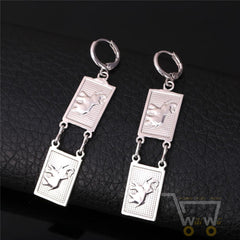 18K Gold Plated / Platinum Plated Square Shape Elephant Earrings - WikiWii
