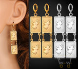18K Gold Plated / Platinum Plated Square Shape Elephant Earrings