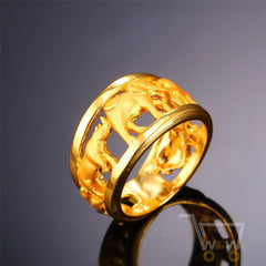 18K Gold Plated African Elephant Ring - WikiWii