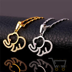 18K Gold/Platinum Plated Cute Elephant Necklace - WikiWii