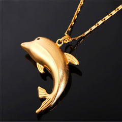18K Gold/Platinum Plated Dolphin Necklace - WikiWii