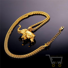 18K Gold Plated /Stainless Steel plated Lucky elephant necklace - WikiWii