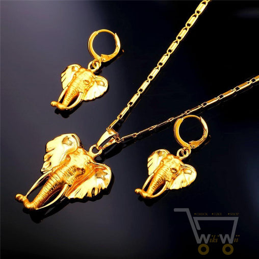 18k gold plated Cute Elephant Necklace Earrings Set - WikiWii