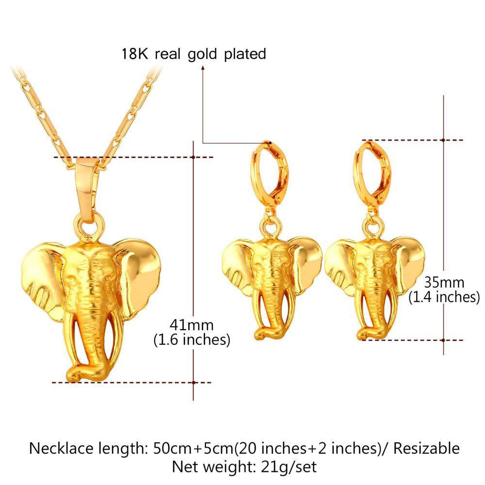 18k gold plated Cute Elephant Necklace Earrings Set