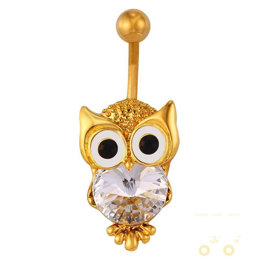 18K Gold Plated / Platinum Plated Owl Belly Button Ring - WikiWii