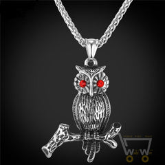 18K Gold Plated / Stainless Steel Chain Owl Necklace - WikiWii
