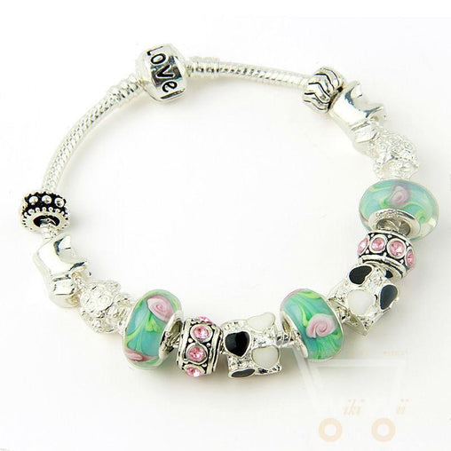 Glass Beads Charm Bracelet - WikiWii