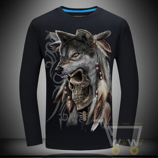 3D Wolf Printed Men's T-Shirt - WikiWii