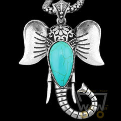 ANtique Silver Plated Elephant Pendant Turquoise Necklace - WikiWii